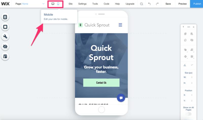 Edit Wix website for mobile