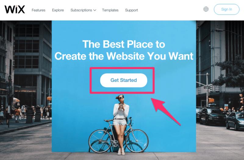 Make a Wix website get started button