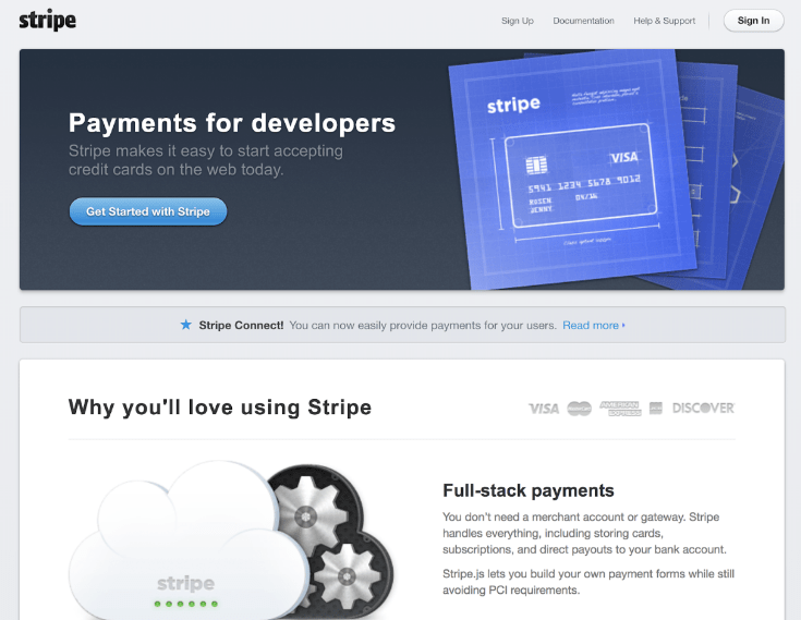 Stripe homepage 2013