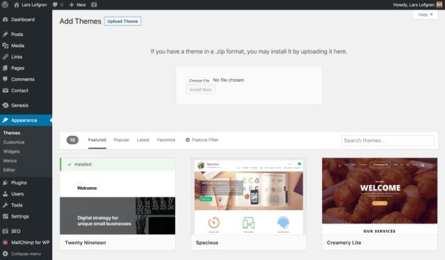 Add WordPress Themes