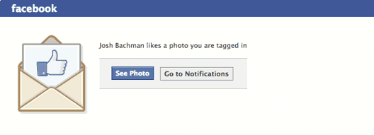 Facebook Email Notification Example