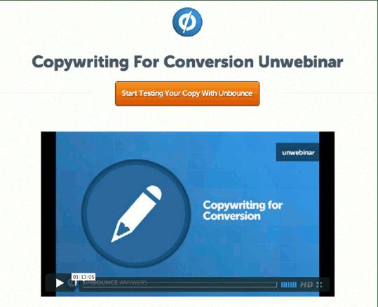 Unbounce Webinar Example