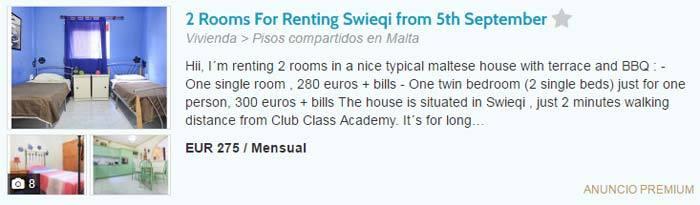 Precio alquiler habitación en Malta