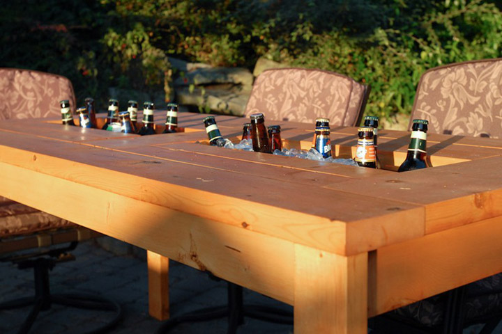 DIY Patio Table With Built In Beer Cooler