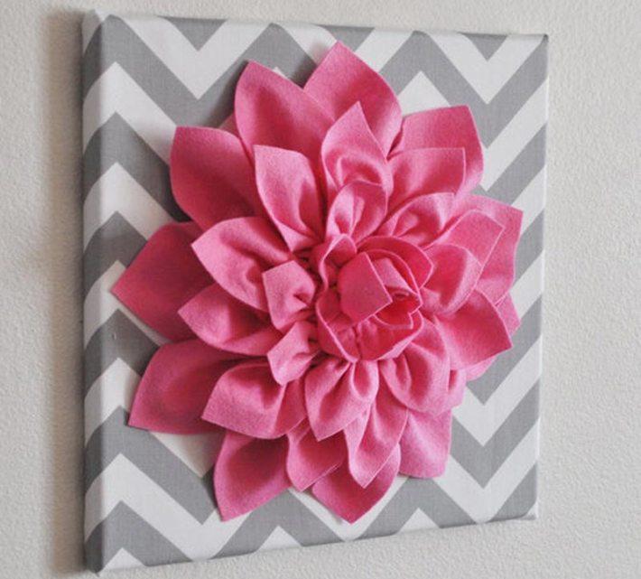3D Felt Flower Wall Art DIY Tutorial