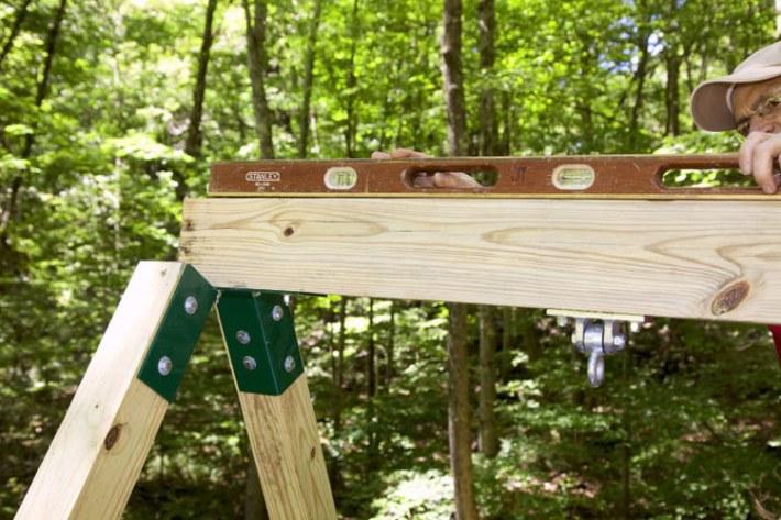 Quiet corner diy backyard wooden swing set quiet corner for How to build a wood fort in your backyard