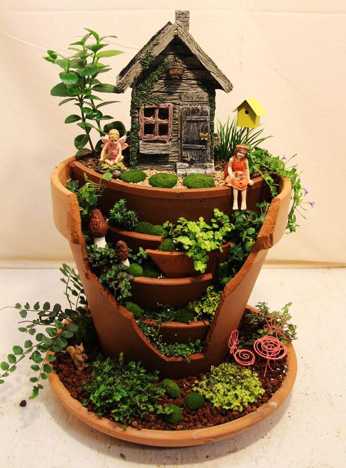 quiet corner fairy garden in container   amazing ideas