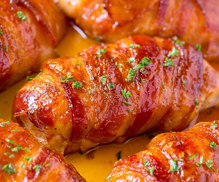 Keto Bacon Wrapped Chicken Thighs