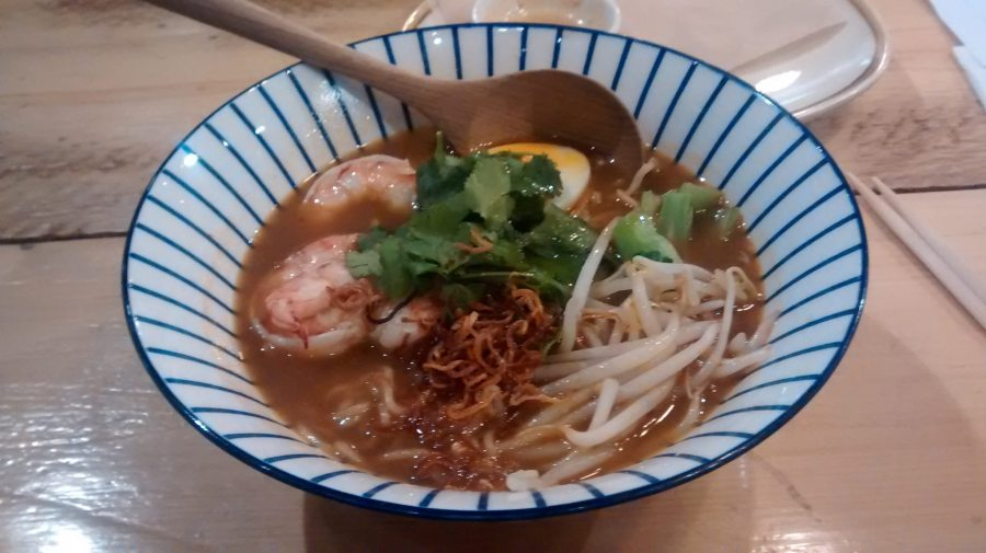 Prawn Tang - spicy prawn and pork broth, tiger prawns, bean sprouts, 6 min egg