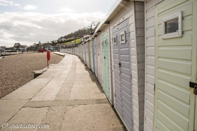 The colourful waterside sheds for rent.