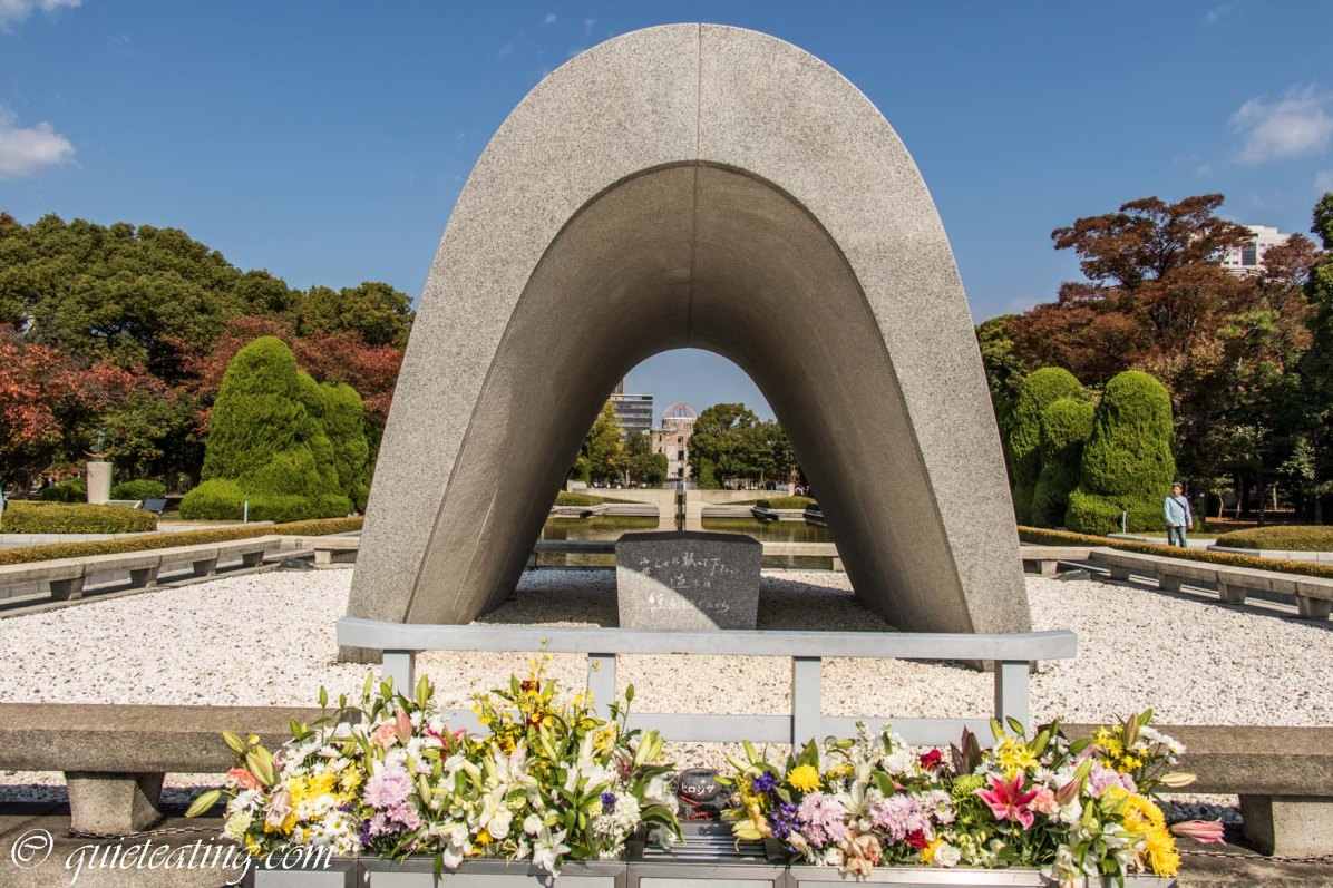 The peace memorial with the eternal flame in the distance. It will keep burning until the last nuclear weapon is destroyed. Something to hope for.