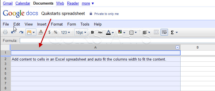 auto fit column width in google docs spreadsheets