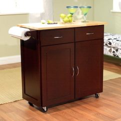 Large Kitchen Cart Keen Shoes Tms With Wood Top Espresso Natural
