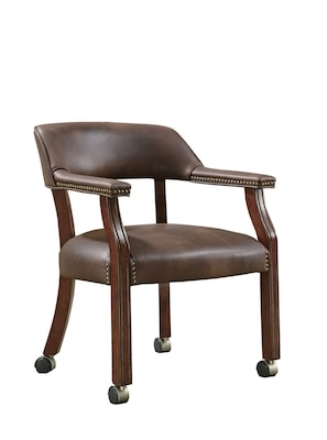 office side chair how to cover chairs coaster traditional vinyl with nailhead trim brown quill com