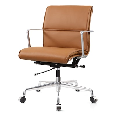 leather executive office chair sciatic nerve stretch meelano m347 genuine italian brown 347 brn quill com