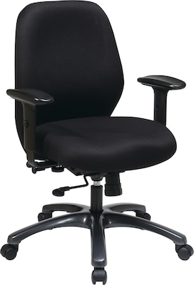 office chair with adjustable arms eames leather dining star proline ii fabric mid back task black quill com