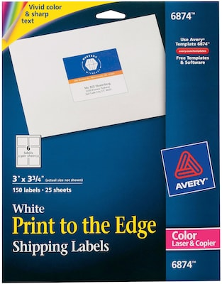 """Avery 6874 Color Printing Matte White Laser Shipping Labels, 3"""" X 3 ..."""