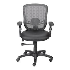 Mesh Back Chairs For Office Plans Adirondack Rocking Chair Quill Brand Corvair Luxura Faux Leather Computer And Desk Black 23097 Com
