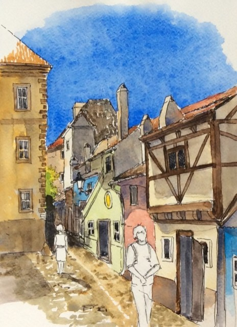 The Golden Lane, Prague Castle, sold. Painted later from a sketch done on site. Line and wash is a flexible option, great when travelling.