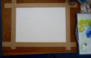 Stretched paper sketched up and ready to start painting