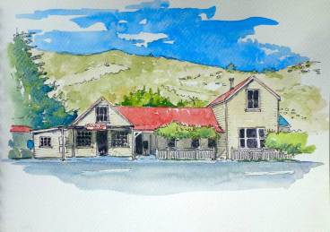 Okains Bay Store, an example of a fairly simple line and wash work. Not far from colouring in.