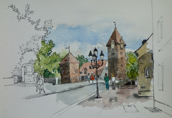 At the Bridge, Nuremburg, Germany. $375 framed