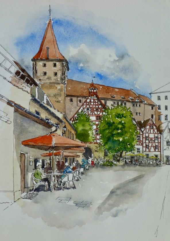 Cafe scene, Nuremburg, . $375 framed