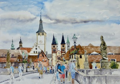 At the Bridge, Wurzberg, Germany, SOLD