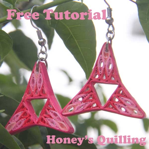 pink tri point filled paper quilling earrings - Honey's Quilling