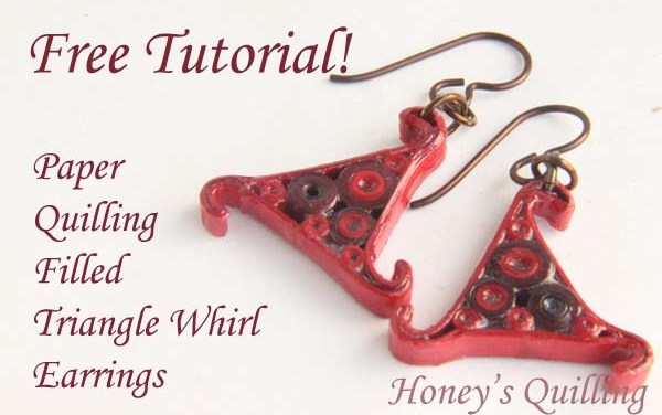 Red Whirl Triangle Paper Quilling Earrings Tutorial