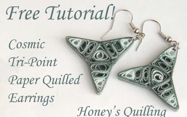 Cosmic Tri Point Paper Quilling Earrings Tutorial