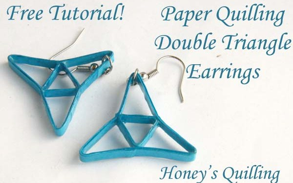 Blue Double Triangle Paper Quilling Earrings Tutorial