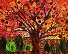 paper quilling tree silhouette mosaic tutorial - Little Circles