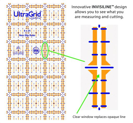 UltraGrid Quilting Rulers 6x24 invisiline detail