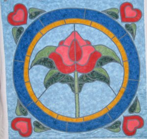 Stained Glass Quilt, Rose Quilt