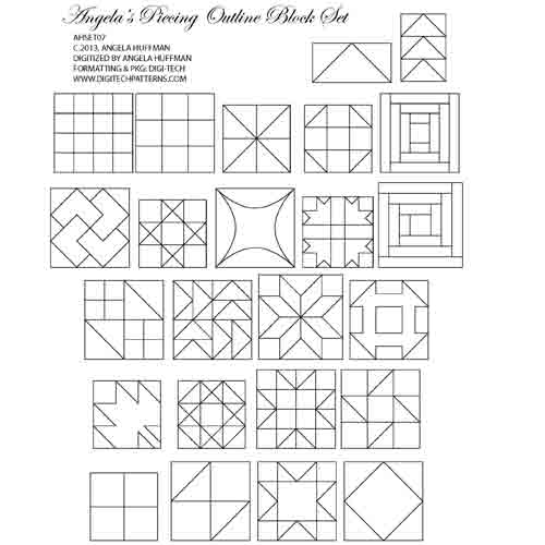Angela's Piecing Block Outline 24 Piece Set