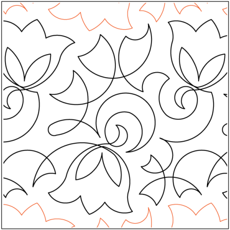 """Keryn's Bellflower paper pantograph, 10"""" tall. Designed by Keryn Emmerson. Available at QuiltedJoy.com"""