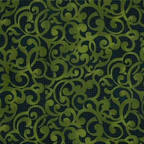 """Filigree in Green from Studio E. The print has a green filigree scroll over a much darker green textured background. 108"""" wide back fabric. Available at QuiltedJoy.com"""