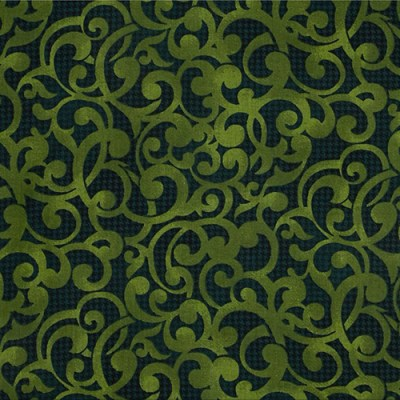 "Filigree in Green from Studio E. The print has a green filigree scroll over a much darker green textured background. 108"" wide back fabric. Available at QuiltedJoy.com"