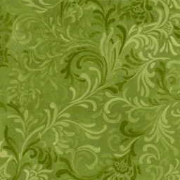 """Flourish in Green is a 108"""" wide back fabric from South Sea Imports. A beautiful tonal fabric with a classic flourishing print. 100% cotton. Available at QuiltedJoy.com"""