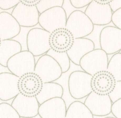 """Grey on White Tone on Tone Flower 108"""" Wide Back Fabric, Available at QuiltedJoy.com"""