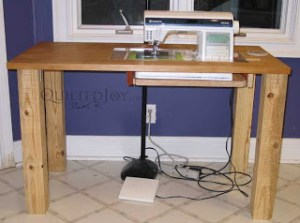 DIY Sewing Machine Table by QuiltedJoy.com