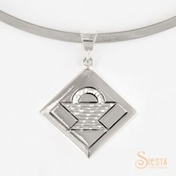 Medium Basket block sterling silver pendant by Siesta Silver Jewelry. Available at QuiltedJoy.com