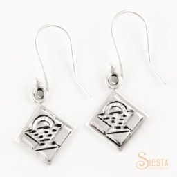 Basket Block sterling silver earrings from Siesta Silver Jewelry. Available at QuiltedJoy.com