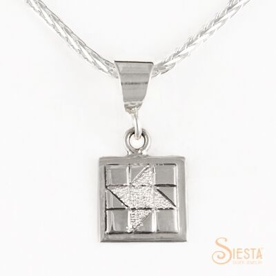 Mini Friendship Star sterling silver pendant by Siesta Silver Jewelry. Available at QuiltedJoy.com