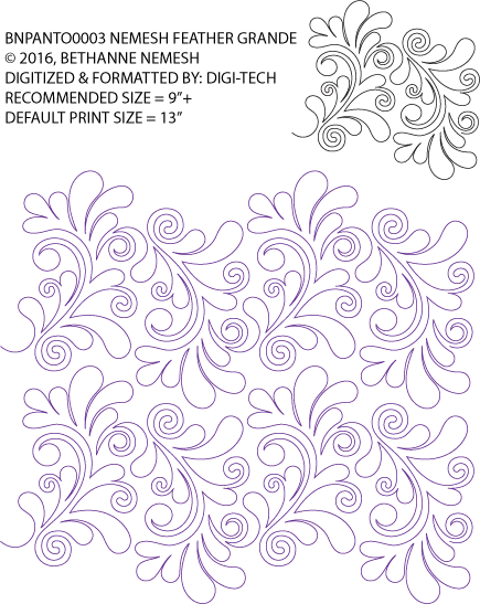 """Nemesh Feather Grande paper pantograph, 13"""" tall. Designed by Bethanne Nemesh. Available at QuiltedJoy.com"""