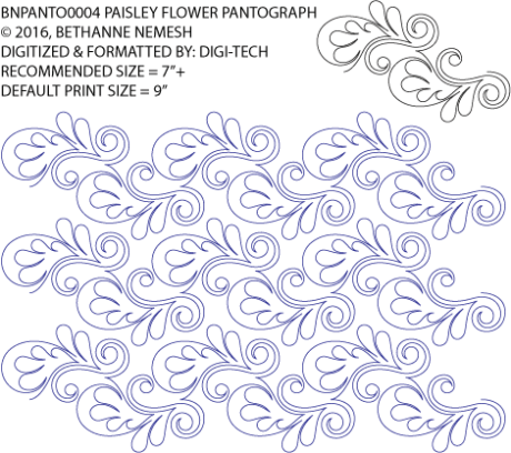 """Paisley Flower Paper Pantograph, 9"""" tall. Designed by Bethanne Nemesh. Available at QuiltedJoy.com"""