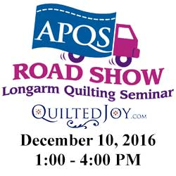 APQS Road Show at Quilted Joy on Dec. 10, 2016, 1:00-4:00pm