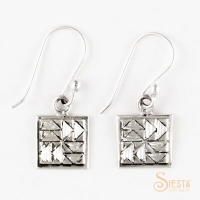 Dutchman's Puzzle sterling silver earrings on hook from Siesta Silver Jewelry. Available at QuiltedJoy.com