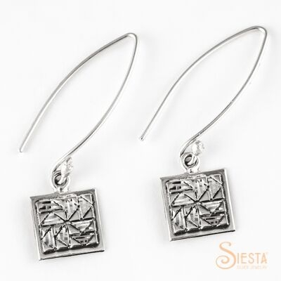 Dutchman's Puzzle sterling silver earrings on long wire from Siesta Silver Jewelry. Available at QuiltedJoy.com